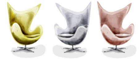 Modern chair set watercolor
