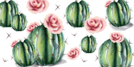Cactus and flowers pattern Vector watercolor. Succulent summer background Фото со стока - 122813940