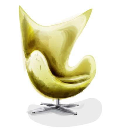 Yellow modern chair set watercolor