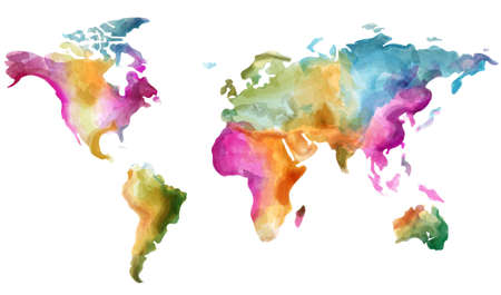 World map Vector watercolor. Colorful illustration grunge effect Vetores