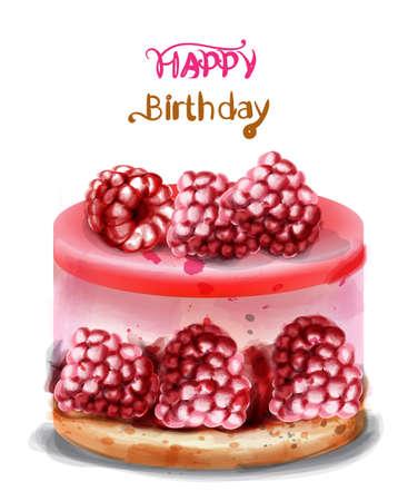 Raspberry birthday cake Vector watercolor. Happy birthday delicious card