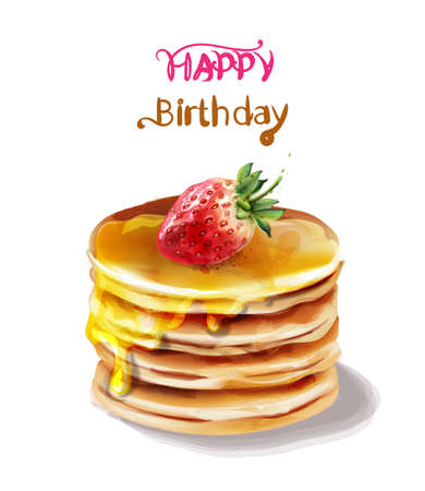 Happy birthday cake Vector watercolor. Juicy filling and fruits topping