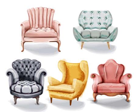 Vintage retro armchair set collection  watercolor. Vectores