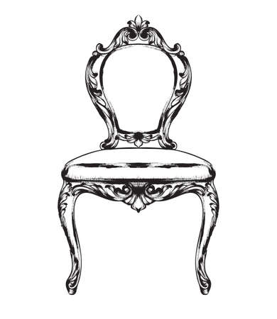 Rich baroque chair Vector. Retro style furniture. Vintage design Çizim