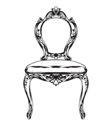 Rich baroque chair Vector. Retro style furniture. Vintage design Illustration