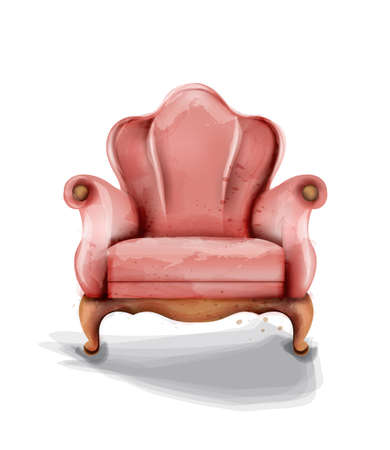 Vintage retro armchair  watercolor.