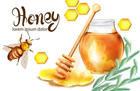 Honeycomb banner watercolor Illustration