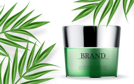 Cosmetics green cream and spray moisturizer hydration realistic.