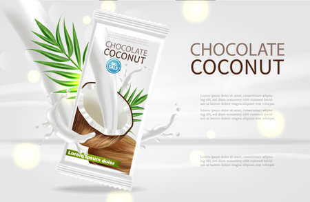Coconut chocolate  realistic mock up Illustration