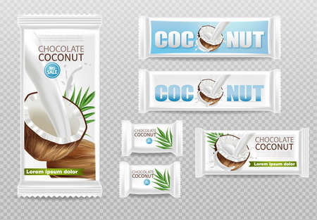 Coconut chocolates isolated Vector realistic mock up. Product packaging label design. 3d detailed illustration Illustration