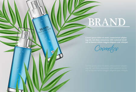 Cosmetics spray water moisturizer hydration Vector realistic. Product packaging mockup. Detailed bottles with label design. 3d template illustration