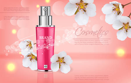 Cherry blossom spray Vector realistic. Product packaging mockup. Moisturizer hydration floral cosmetics. Detailed pink bottle with label design. 3d template illustration
