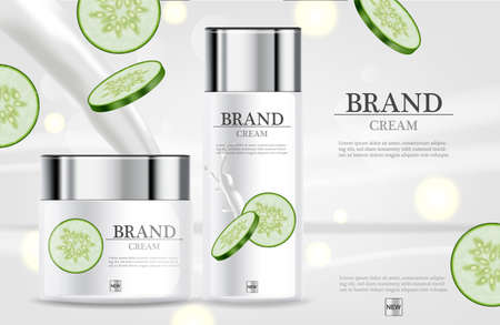 Cucumber cream moisturizer hydration Vector realistic. Illustration