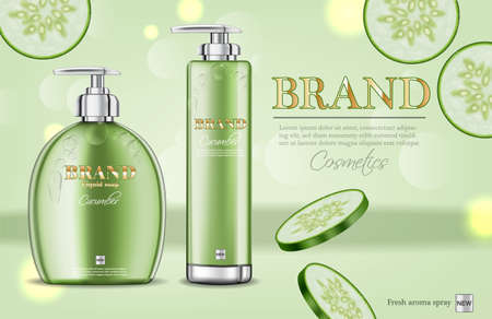 Cucumber soap and shampoo  realistic. Illustration