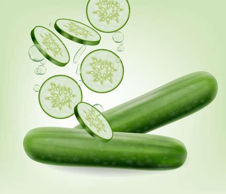 Vecteur de concombre réaliste. Illustration 3d détaillée de tranches savoureuses fraîches de légumes Vecteurs