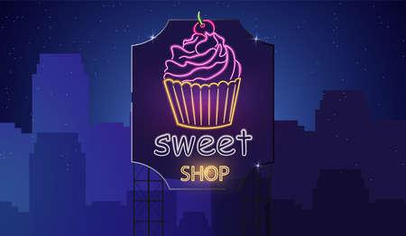 Sweet cupcake neon symbols