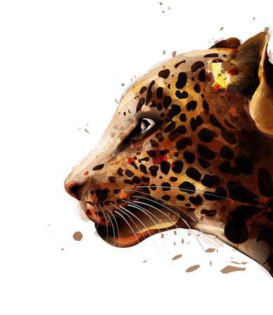 Leopard  watercolor. Zdjęcie Seryjne - 122909599