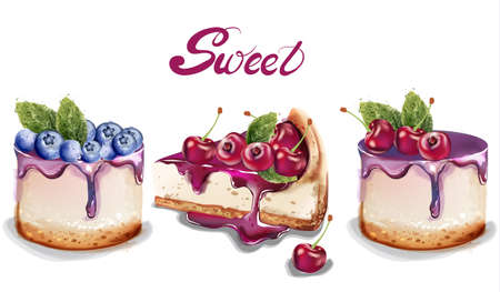 Süße Kuchen stellen Aquarell ein.