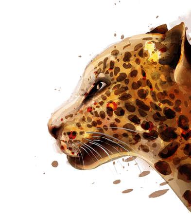 Leopard  watercolor. Zdjęcie Seryjne - 122910760