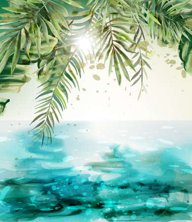 Blue seaside Summer tropic card Vector watercolor. Palm leaves and sunshine views