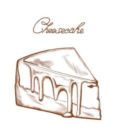 Cheesecake line art Vector. Delicious dessert illustration isolated on whites Ilustração