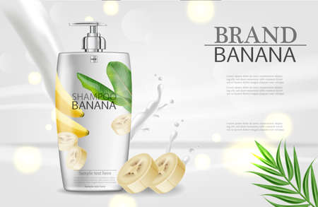 Banana shampoo Vector realistic mock up. White bottle cosmetics. Product placement label design. Detailed 3d illustrations