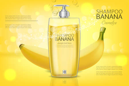 Banana shampoo Vector realistic mock up. Yellow bottle cosmetics. Product placement label design. Detailed 3d illustrations