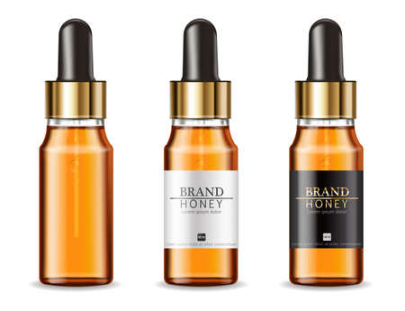 Serum cosmetics bottles Vector realistic. Product placement mock up. Detailed bottles isolated. 3d illustrations Ilustración de vector