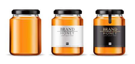 Honey Vector realistic mock up. Product placement label design. Detailed 3d illustrations