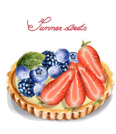 Fruit tartlet Invitation isolated Vector watercolor. Strawberry and blueberry sweet cupcakes Vectores