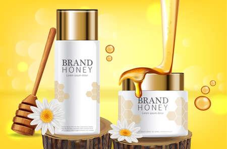 Honey infused cream  realistic mock up. White bottles cosmetics.