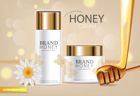 Honey infused cream  realistic mock up. Ilustração
