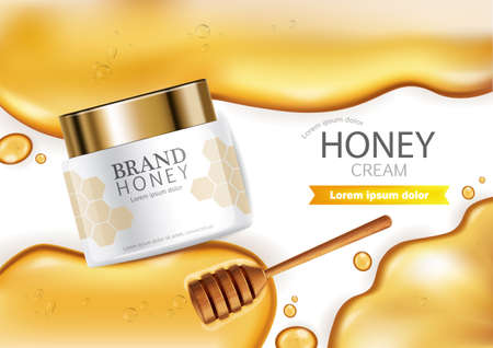 Honey infused cream  realistic mock up. Ilustração