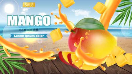 Mango fruit sliced on tropic realistic.