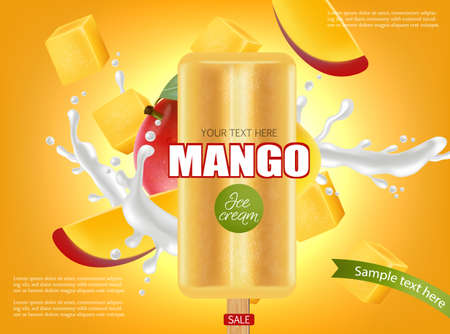 Mango ice cream splash realistic. Vetores