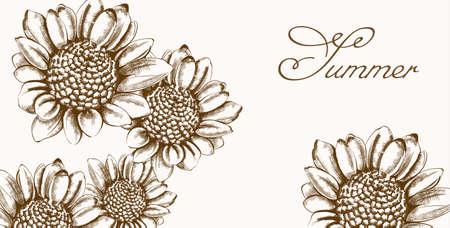 Vintage sunflower wreath card Vector line art. Boho style posters