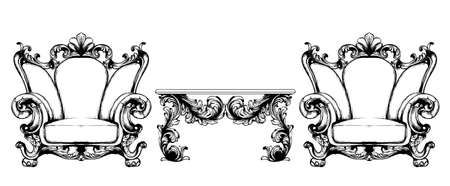 Rich baroque armchair Vector. Imperial style furniture. Vintage design