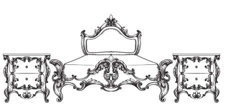 Baroque bed Vector. Imperial style furniture. Vintage designs