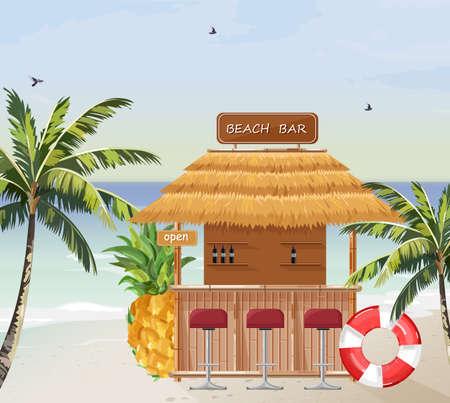 Bar sulla spiaggia vettore. Mare tropicale estivo. Icone modello casa in legno