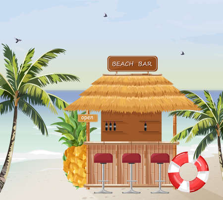 Vector de bar de playa. Playa tropical de verano. Iconos de plantilla de casa de madera