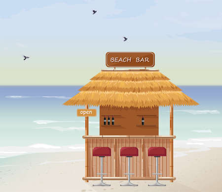 Beach bar Vector. Summer tropic seaside. Wooden house template icons