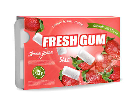 Chewing gum Vector realistic. Product placement detailed label design. Strawberry Fruit flavor. 3d illustration Banco de Imagens - 125686634