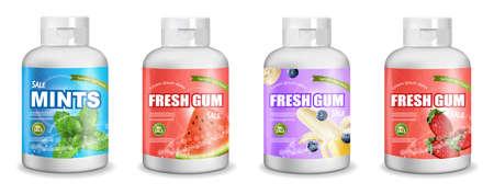 Zahnfleisch verspottet realistische Set-Sammlung des Vektors. Detailliertes Etikettendesign für die Produktplatzierung. Flaschen verpacken. Frucht- und Minzgeschmack. 3D-Illustrationen Vektorgrafik