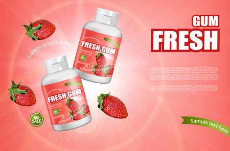 Strawberry chewing gum Vector realistic. Product placement detailed label design. Berry Fruit flavor. 3d illustrations