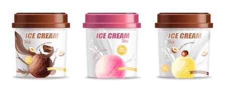 Ice cream plastic bucket container set packaging