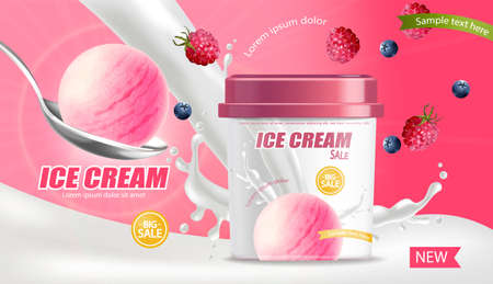 Ice cream bucket Vector realistic mock up. Product placement. Label design advertise template. Berry fruits flavor Detailed 3d illustrations Ilustración de vector
