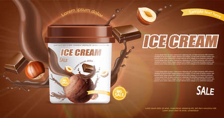 Chocolate ice cream bucket Vector realistic mock up. Product placement. Label design advertise template. Chocolate splash. Detailed 3d illustrations