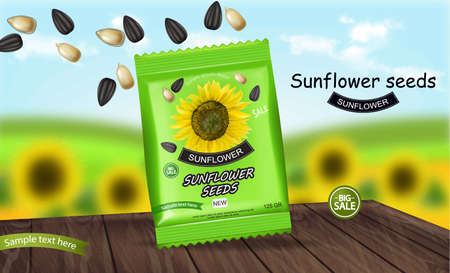 Sunflower seeds package Vector realistic. Product packaging mock up. Detailed 3d designs