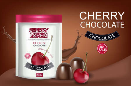 Cherry chocolate Vector realistic mock up. Chocolate splash background. Product placement label design. 3d illustrations