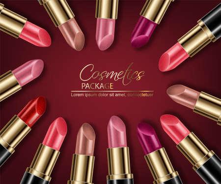 Ensembles de rouge à lèvres maquette Vector réaliste. Affiche publicitaire d'illustration 3D faisant la promotion de produits de maquillage haut de gamme. Conception de l'emballage. Échantillons de couleurs